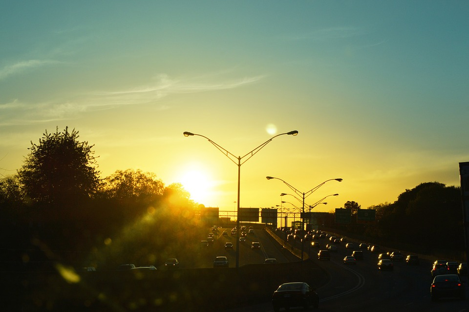 Sunset, Traffic, Rent A Car, Road